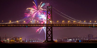 SF Bay Bridge fireworks